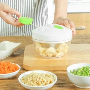 Manual Hand Chopper Spin Cutter For Vegetable Fruit Nuts - White