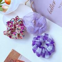 Fancy Plaid Floral Elastic Hair Band - Purple