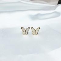 Ladies Fashion Butterfly Stud Earrings - Golden