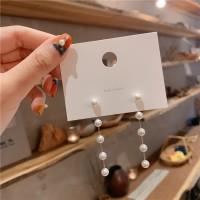 Ladies Pearl Chain Earrings - Golden