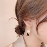 Women Pearl Simple Geometric Sweet Earrings - Golden