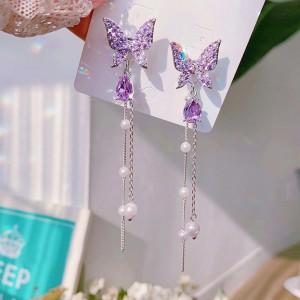 Girl Butterfly Pearl Tassel Earrings - Purple