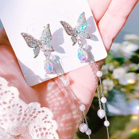Girl Butterfly Pearl Tassel Earrings - Multicolor