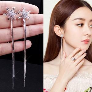 Ladies Fashion Long Tassel Stud Earrings - Silver