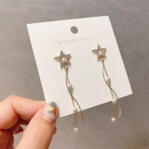 Pentagram Pearl Tassel Earrings - Golden