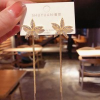 Flower Tassel Fashion Earrings - Golden