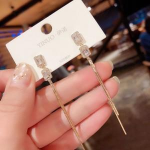 Woman Zircon Tassel Earrings - Golden