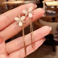 Ladies Flower Tassel Long Earrings - Golden