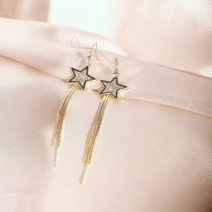 Girls Star Tassel Long Earrings - Golden