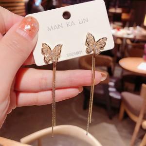 Women Butterfly Fashion Earrings - Golden