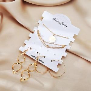 Attractive Spherical Design 4 Pieces Women Earrings Set - Golden