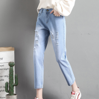 Shredded Narrow Bottom Casual Wear Women Denim Pants - Blue