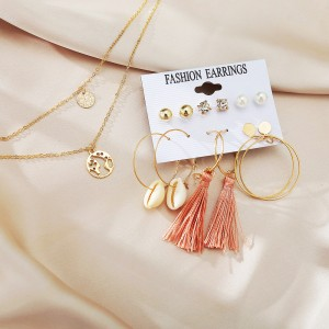 Sea Shell Tassel Earrings Set With Necklace