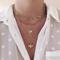Creative Pendant Bee Multi Layered Women Necklace - Golden