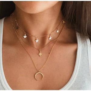 Trendy Star Moon Multi Layered Women Necklace - Golden