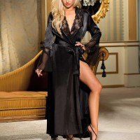 Wrapped Sleepwear Speaker Sleeves Satin Full Length Pajama Top - Black