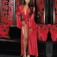Wrapped Sleepwear Speaker Sleeves Satin Full Length Pajama Top - Red
