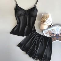 Lace Patched Two Pieces Nightwear Lingerie Set - Black