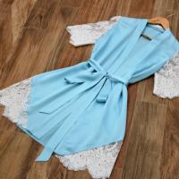 Satin Strapped Waist Sleepwear Sexy Nightwear - Blue