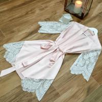 Satin Strapped Waist Sleepwear Sexy Nightwear - Pink