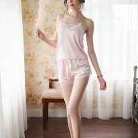 Lace Patched Sleep Wear Two Pieces Nightwear Women Pajama Sets - Light Pink