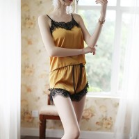 Lace Patched Sleep Wear Two Pieces Nightwear Women Pajama Sets - Yellow