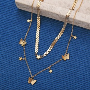 New Fashion Ladies Butterfly and Stars Alloy Necklace - Golden