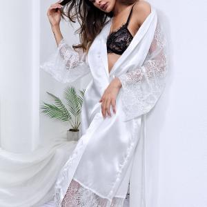 Strapped Waist Satin Sleepwear Sexy Women Pajama Top - White