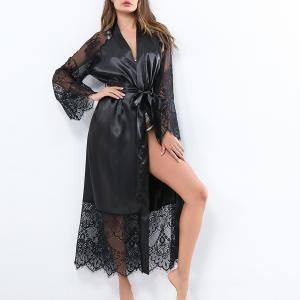 Strapped Waist Satin Sleepwear Sexy Women Pajama Top - Black