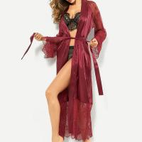 Strapped Waist Satin Sleepwear Sexy Women Pajama Top - Wine Red