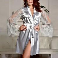 Laced Sleepwear Umbrella Sleeves Sexy Nightwear - Silver