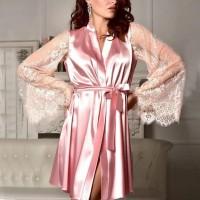 Laced Sleepwear Umbrella Sleeves Sexy Nightwear - Pink