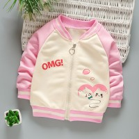 Zipper Contrast Cute Kids Wear Outwear Jacket - Pink
