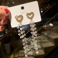 Crystal Tassel Long Necklace - Golden