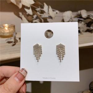 Rhinestone Tassel Square Earrings - Golden
