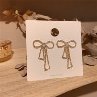 Girls Rhinestone Bow Earrings - Golden