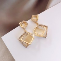 Ladies Fashion Square Earrings - Golden