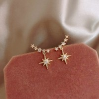Girl Star Rhinestone Women Fashion Earrings - Golden