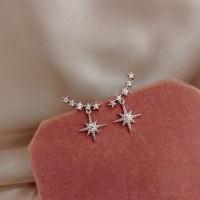 Girl Star Rhinestone Personality Earrings - Silver