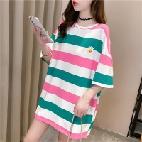 Pink Striped Variant Prints Round Neck Loose Wear T-Shirt - Green
