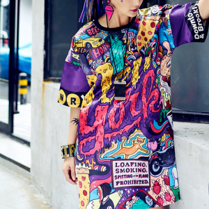 Alphabetic Prints Colorful Round Neck Loose Women Tops