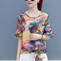 Knotted Graphical Prints Round Neck Women Tops