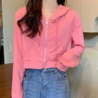 Zipper Closure Hoodie Mesh Pattern Winter Style Hoodie - Pink