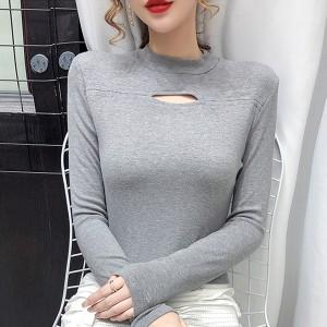Crop O Neck Full Sleeved Casual Women Wear Tops - Gray