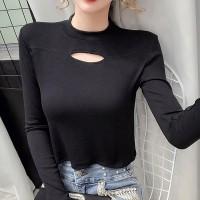 Crop O Neck Full Sleeved Casual Women Wear Tops - Black