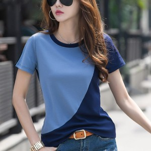 Contrast Round Neck Short Sleeves Casual T-Shirt - Blue