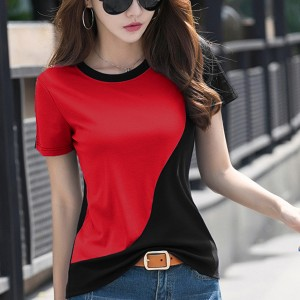 Contrast Round Neck Short Sleeves Casual T-Shirt - Red