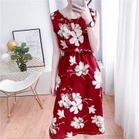 Sleeveless Round Neck Floral Mini Summer Dress - Red