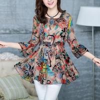 Digital Prints Chiffon Thin Fabric Women Fashion Tops - Multicolors