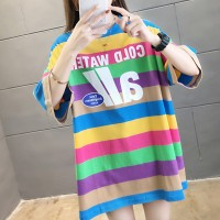 Colorful Variant Round Neck Printed Loose Women Tops